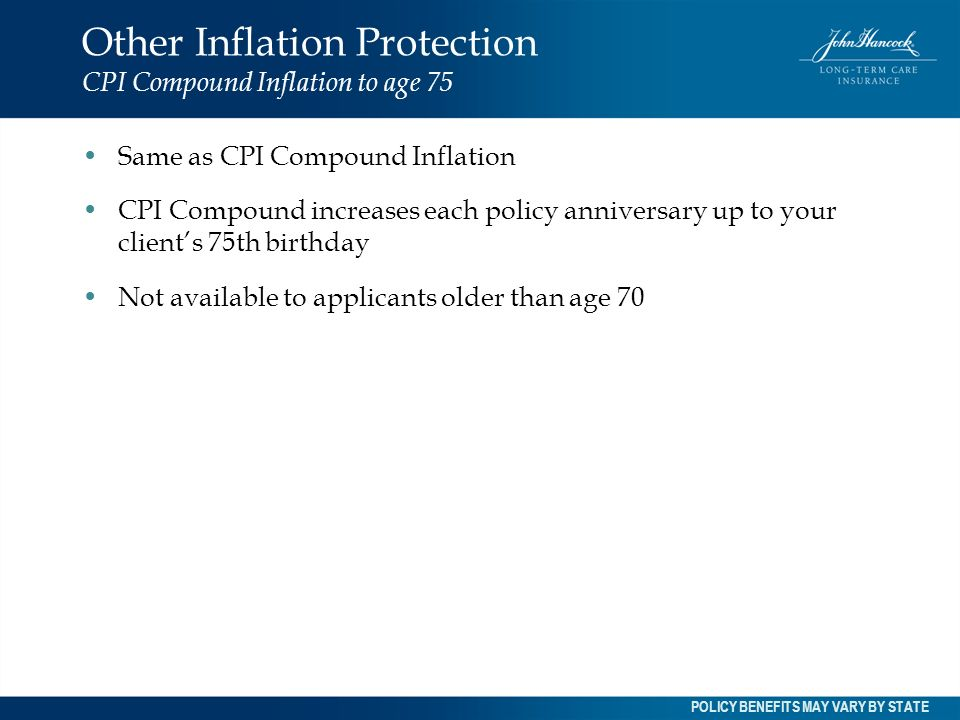 Other Inflation Protection CPI Compound Inflation to age 75
