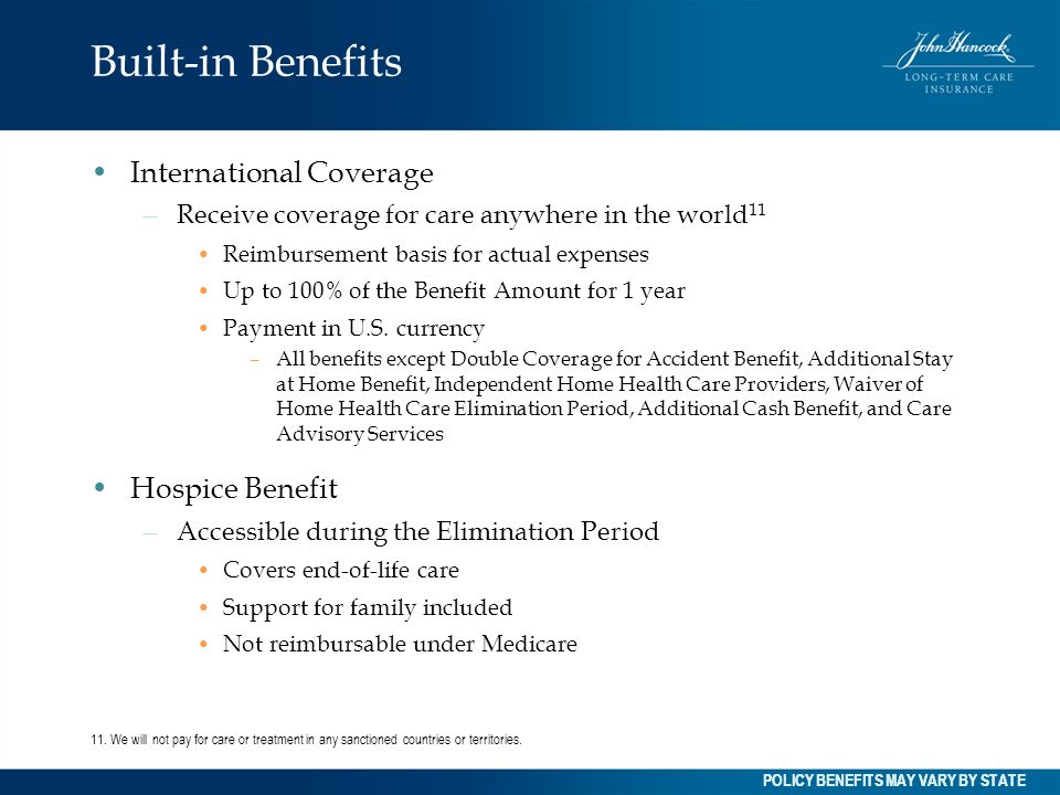 Built-in Benefits International Coverage Hospice Benefit
