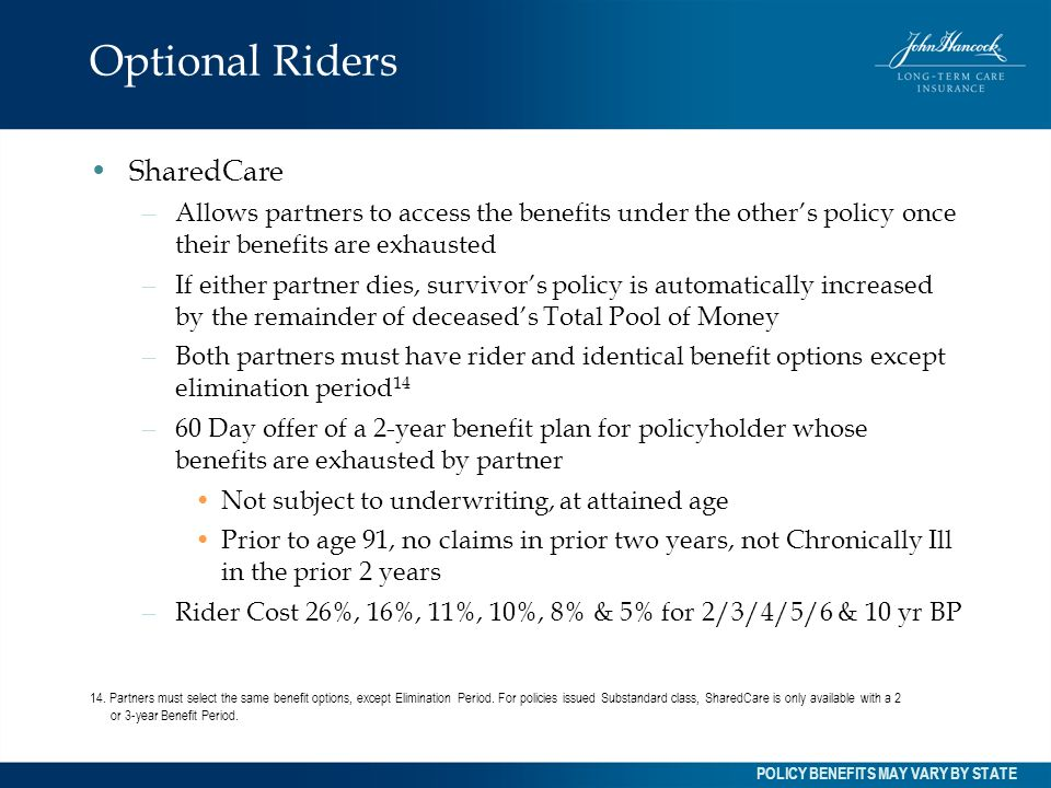 Optional Riders SharedCare