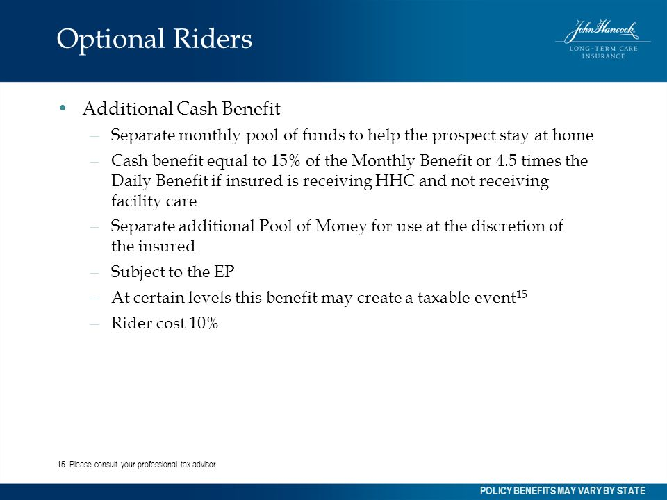 Optional Riders Additional Cash Benefit