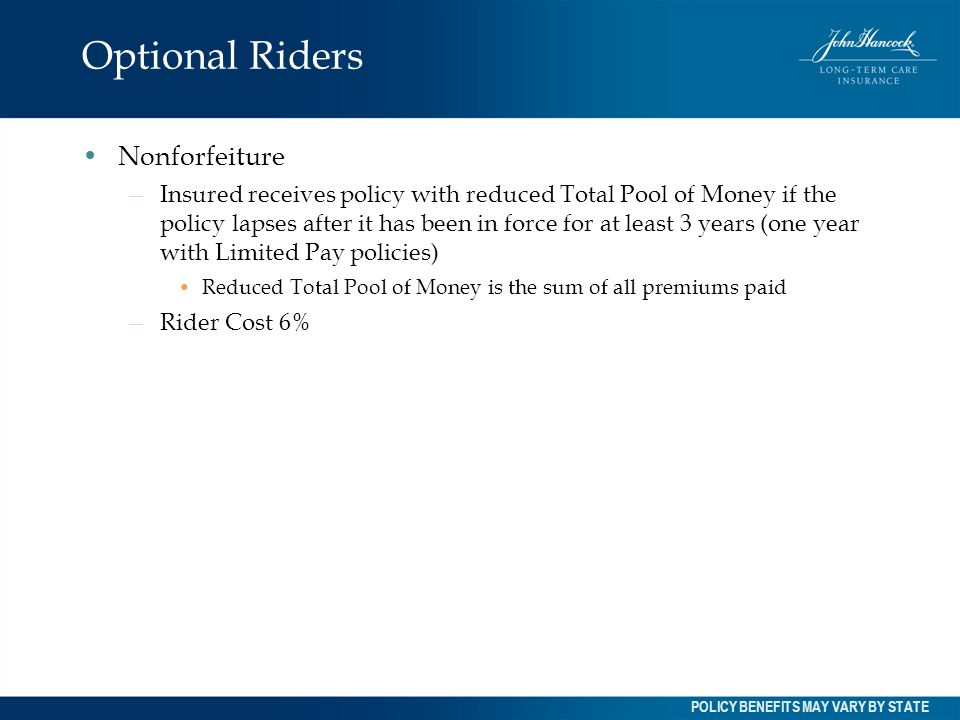 Optional Riders Nonforfeiture