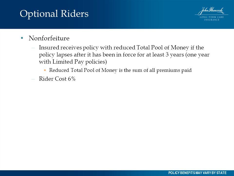 Optional Riders Nonforfeiture