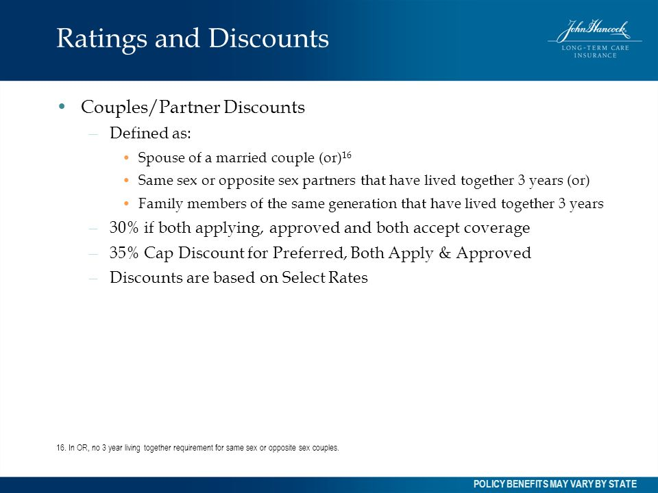 Ratings and Discounts Couples/Partner Discounts Defined as: