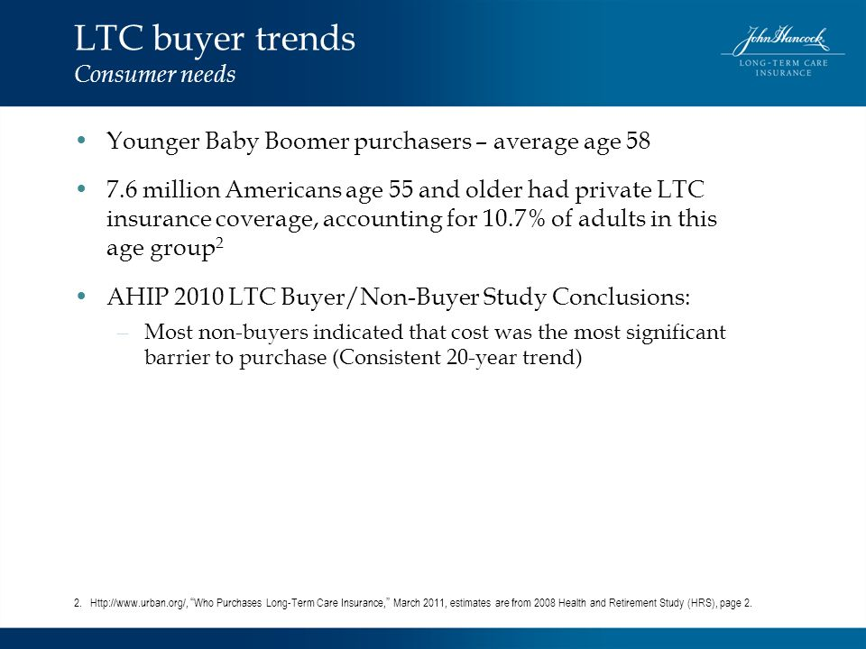 LTC buyer trends Consumer needs