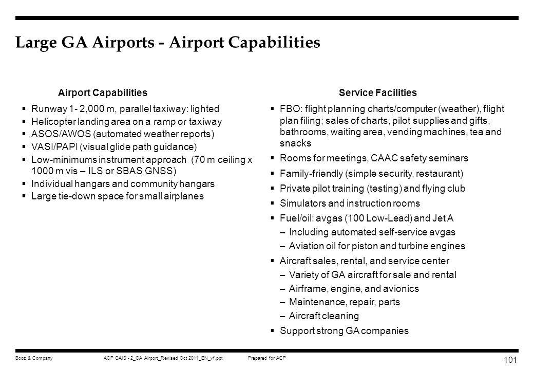 Large GA Airports - Airport Capabilities
