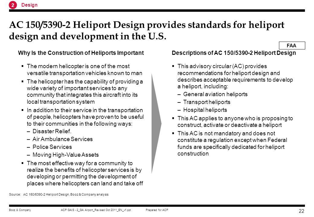 2 Design. AC 150/5390-2 Heliport Design provides standards for heliport design and development in the U.S.