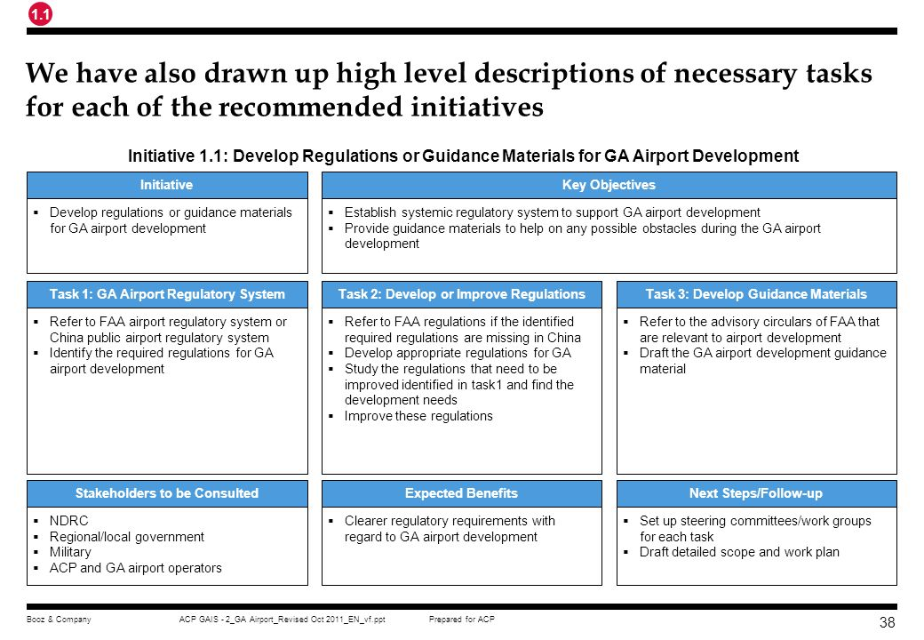 1.1 We have also drawn up high level descriptions of necessary tasks for each of the recommended initiatives.