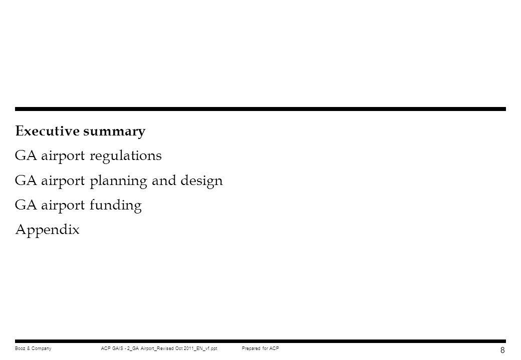 Executive summary GA airport regulations GA airport planning and design GA airport funding Appendix