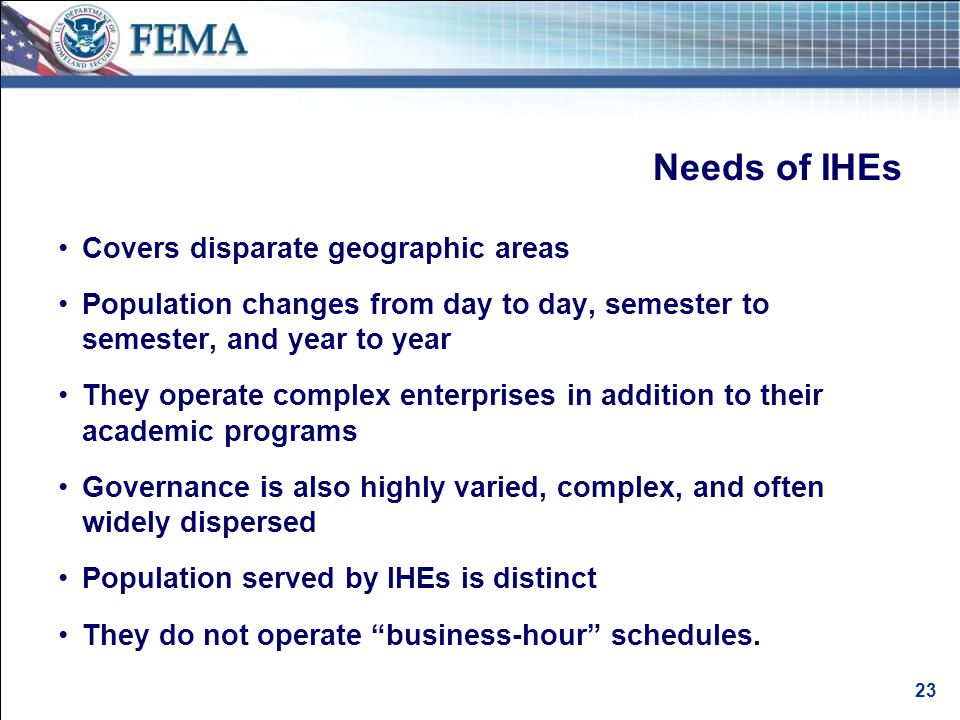Federal Requirements and Mandates for Emergency Planning