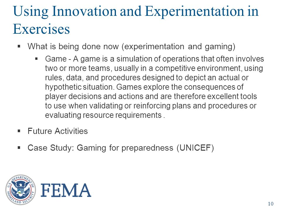 Using Innovation and Experimentation in Exercises