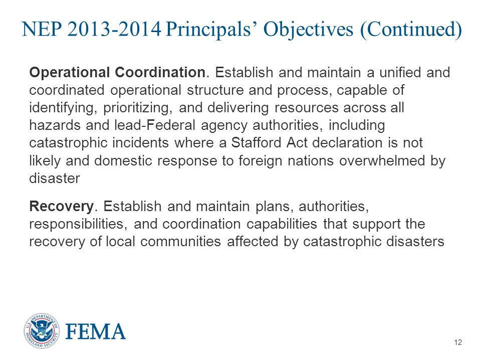 NEP 2013-2014 Principals' Objectives (Continued)