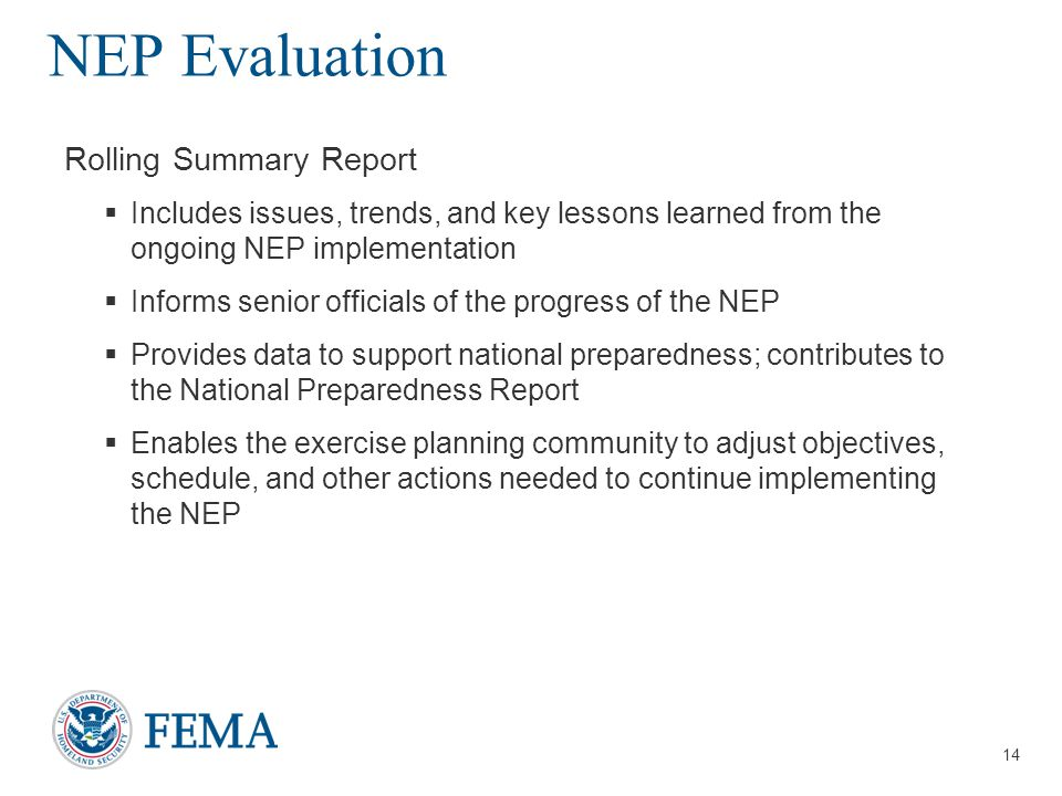 NEP Evaluation Rolling Summary Report