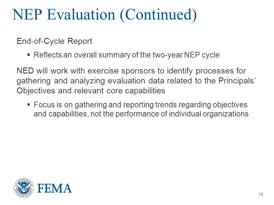 NEP Evaluation (Continued)