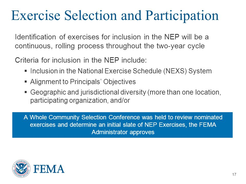 Exercise Selection and Participation