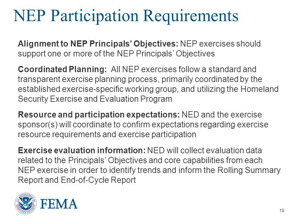 NEP Participation Requirements