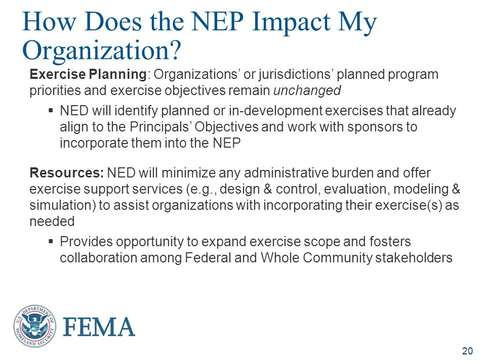 How Does the NEP Impact My Organization