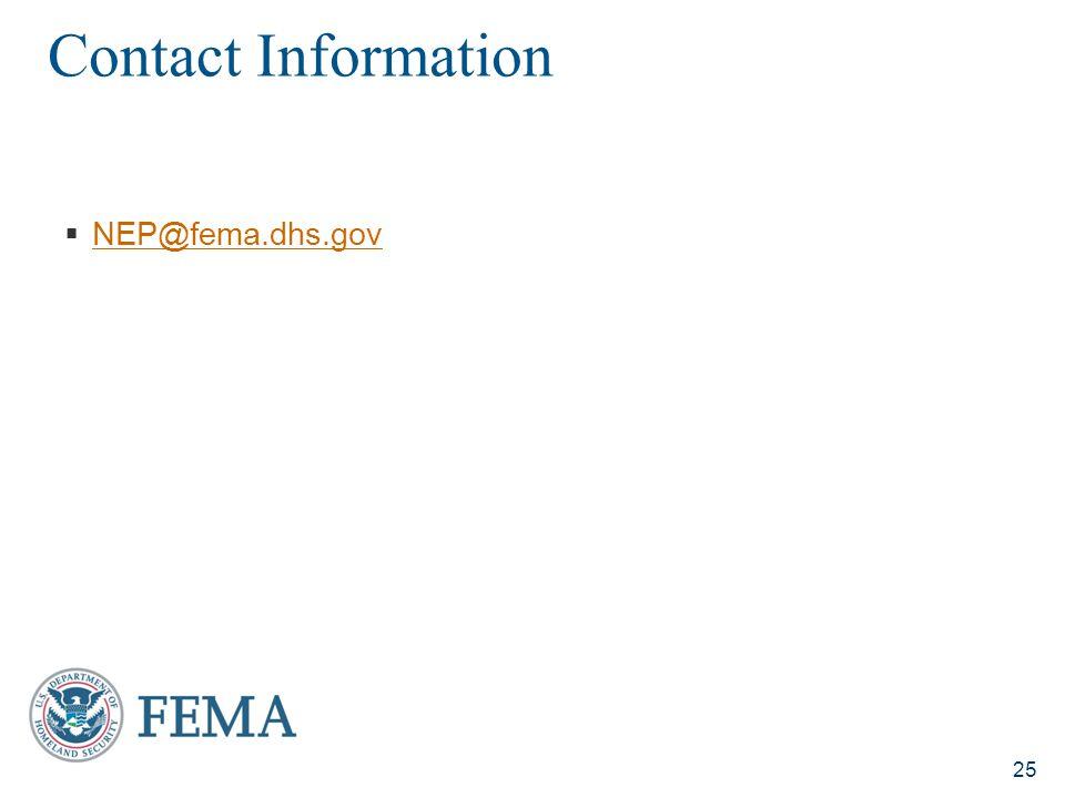 Contact Information NEP@fema.dhs.gov
