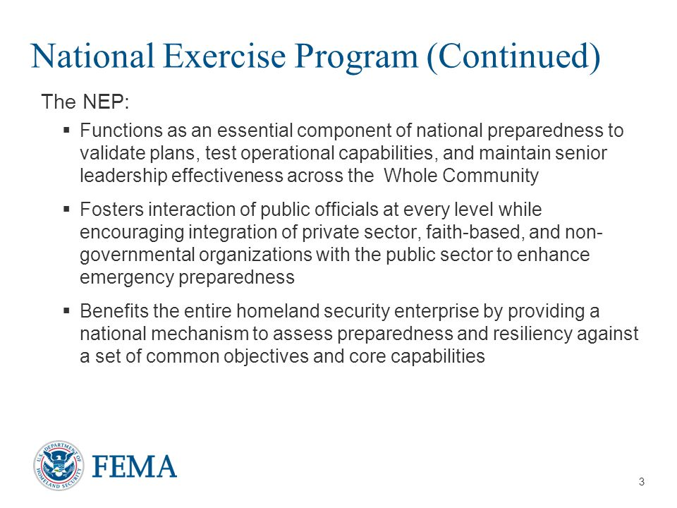 National Exercise Program (Continued)