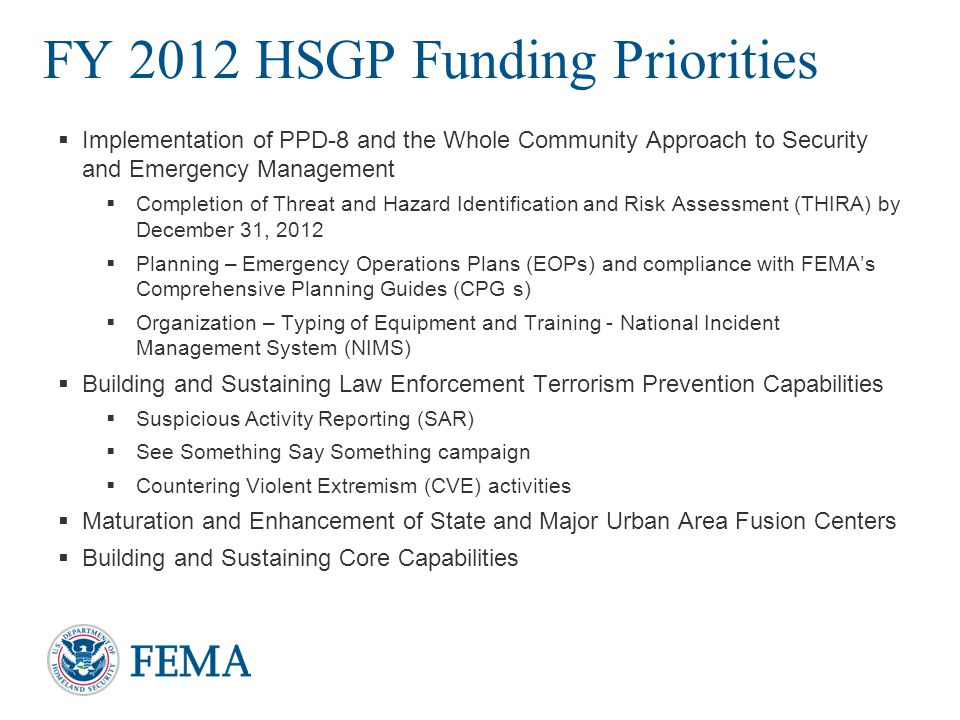FY 2012 HSGP Funding Priorities