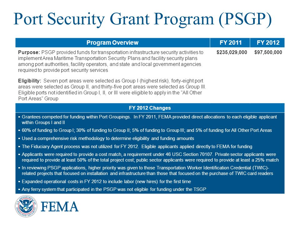 Port Security Grant Program (PSGP)
