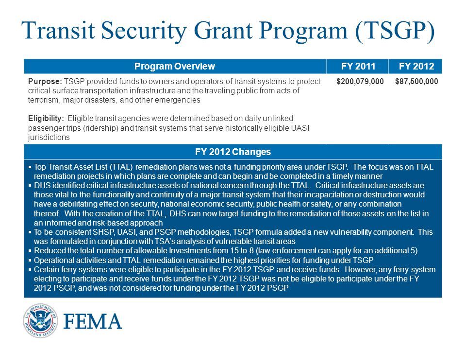 Transit Security Grant Program (TSGP)