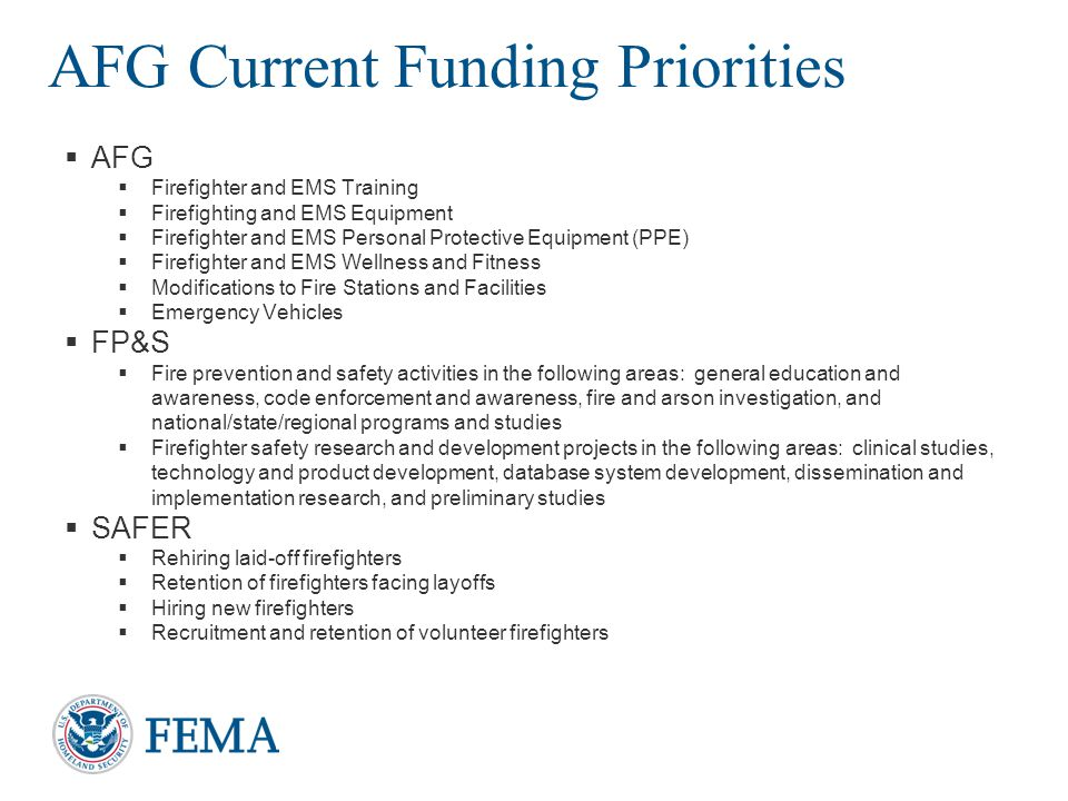 AFG Current Funding Priorities