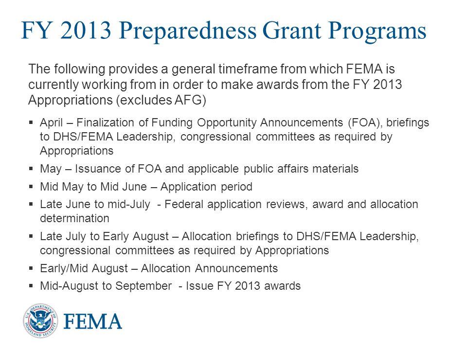 FY 2013 Preparedness Grant Programs