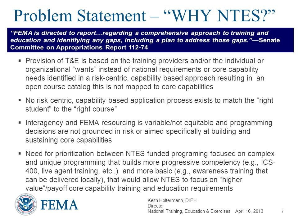 Problem Statement – WHY NTES