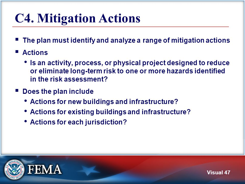 C5. Action Plan The plan must contain an action plan