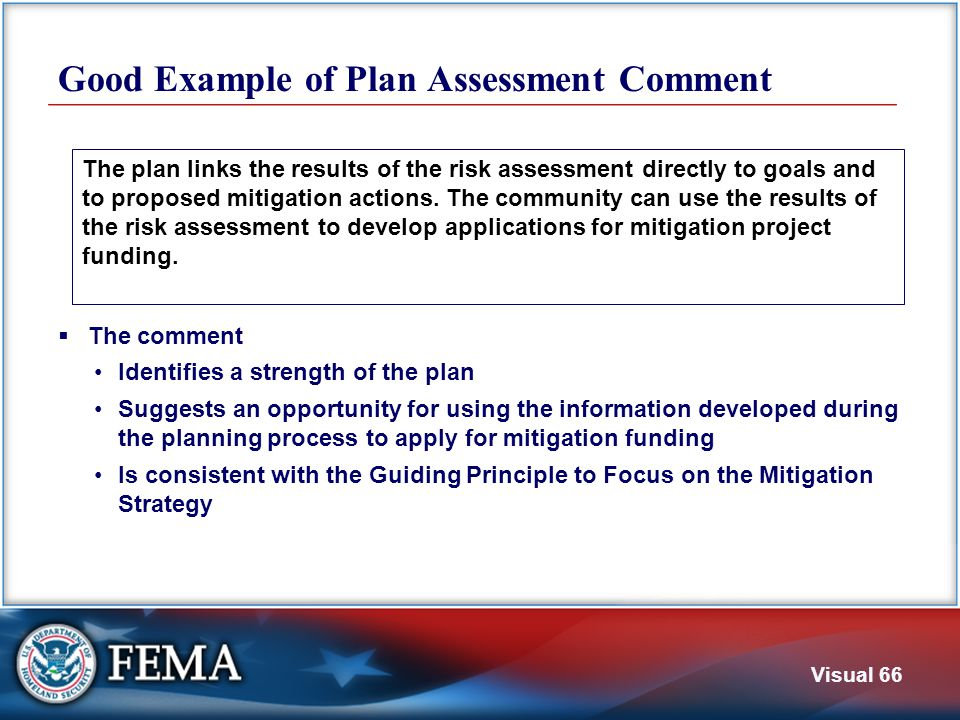 Not a Good Example of Plan Assessment Comment