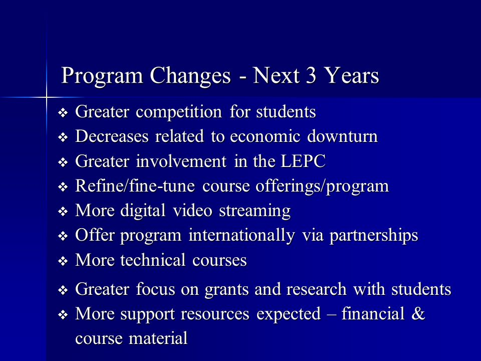 Program Changes - Next 3 Years
