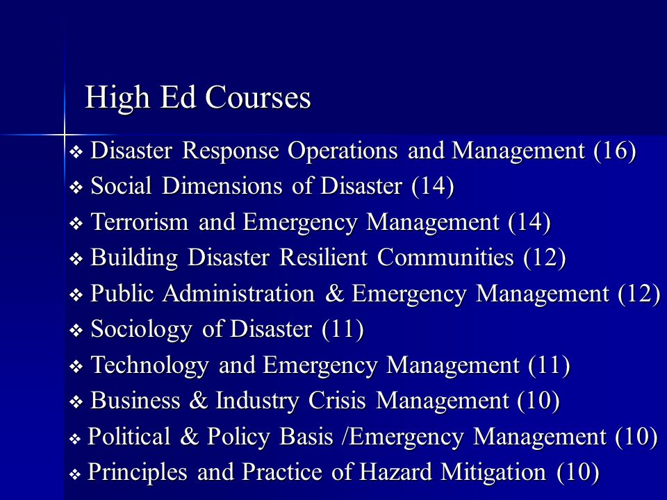 High Ed Courses Disaster Response Operations and Management (16)