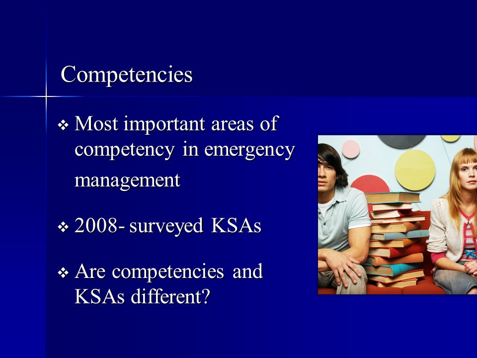 Competencies Most important areas of competency in emergency