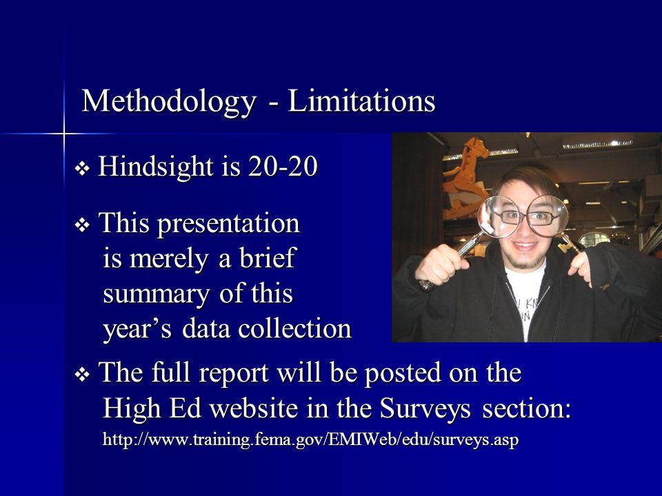 Methodology - Limitations