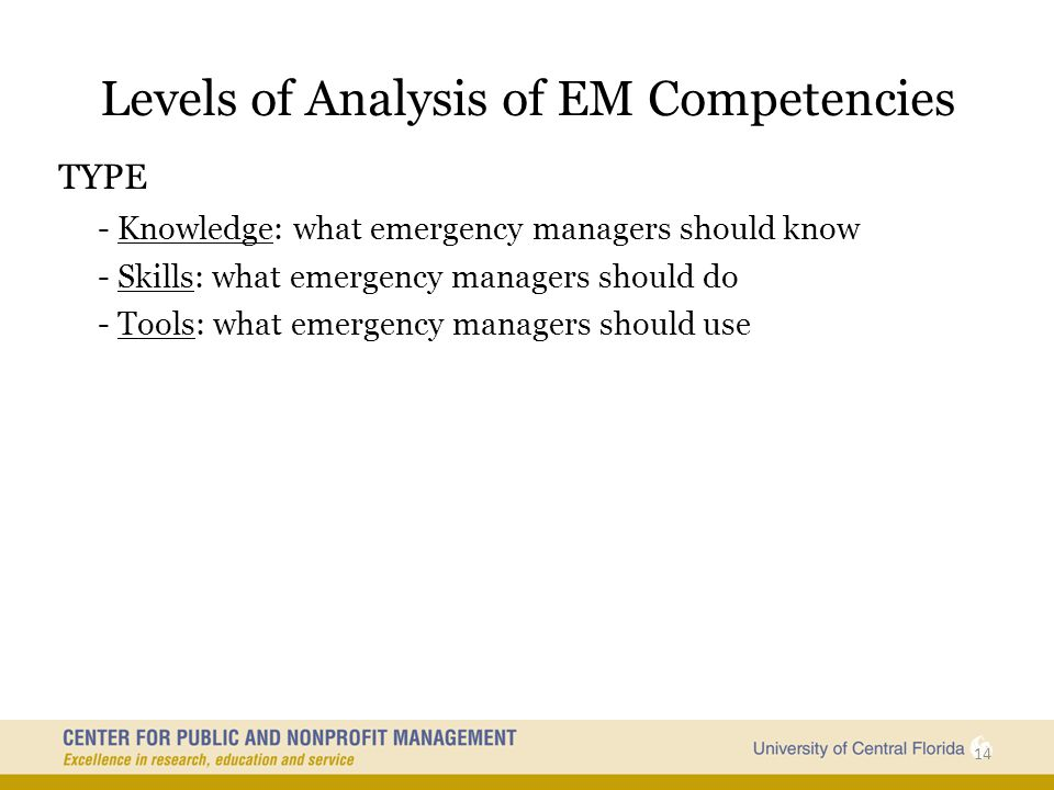 Levels of Analysis of EM Competencies