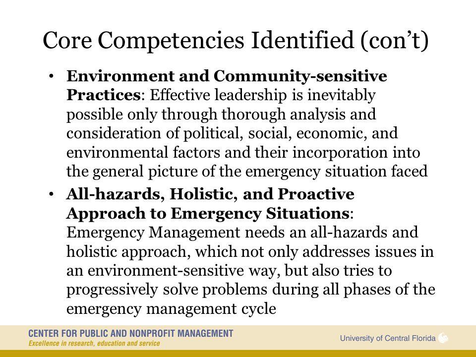 Core Competencies Identified (con't)
