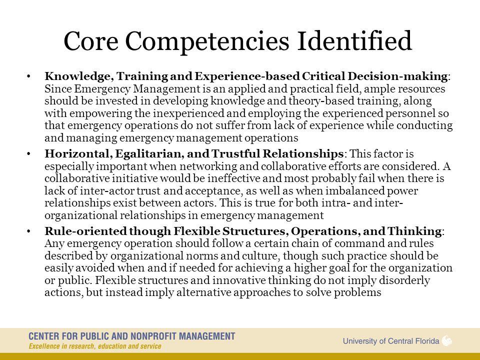 Core Competencies Identified