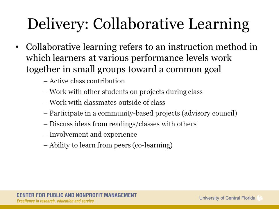 Delivery: Collaborative Learning