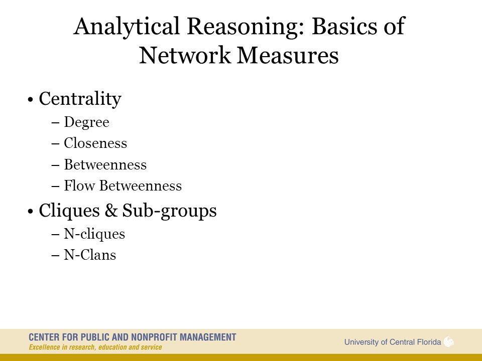 Analytical Reasoning: Basics of Network Measures