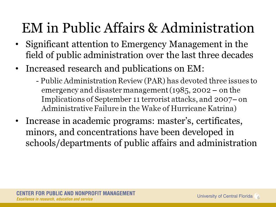 EM in Public Affairs & Administration
