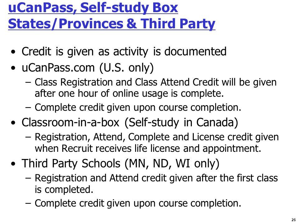 uCanPass, Self-study Box States/Provinces & Third Party