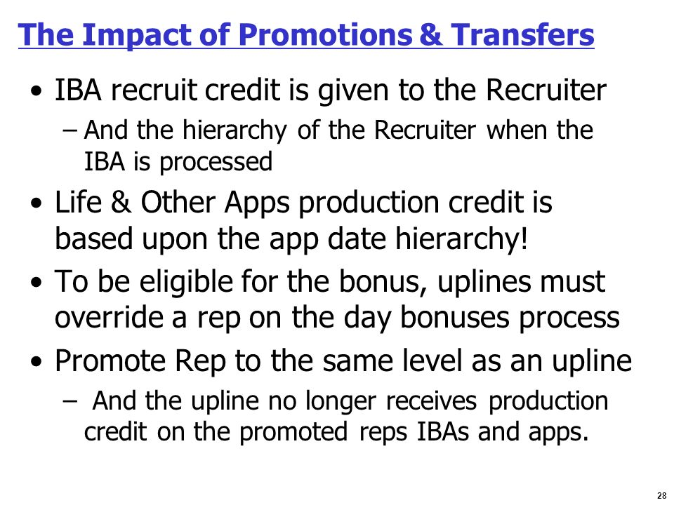 The Impact of Promotions & Transfers