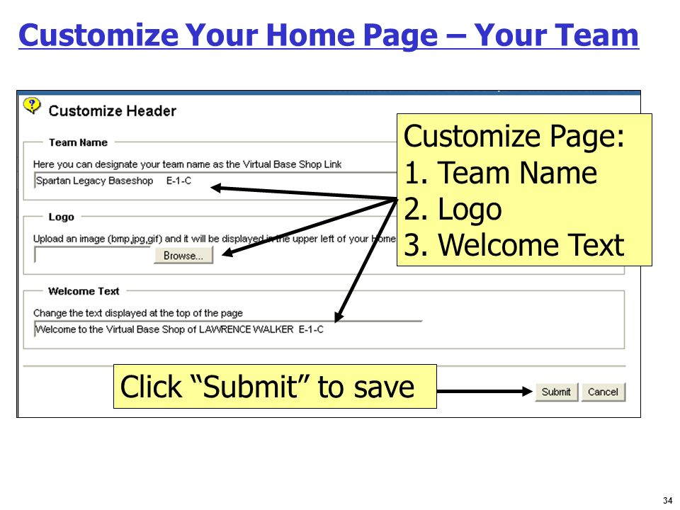 Customize Your Home Page – Your Team