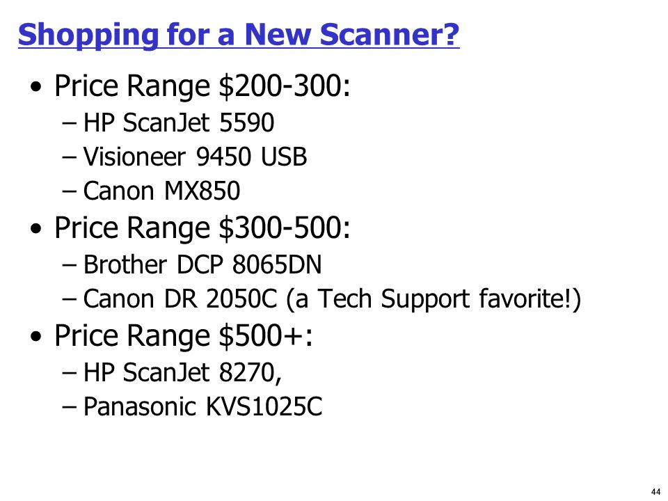 Shopping for a New Scanner