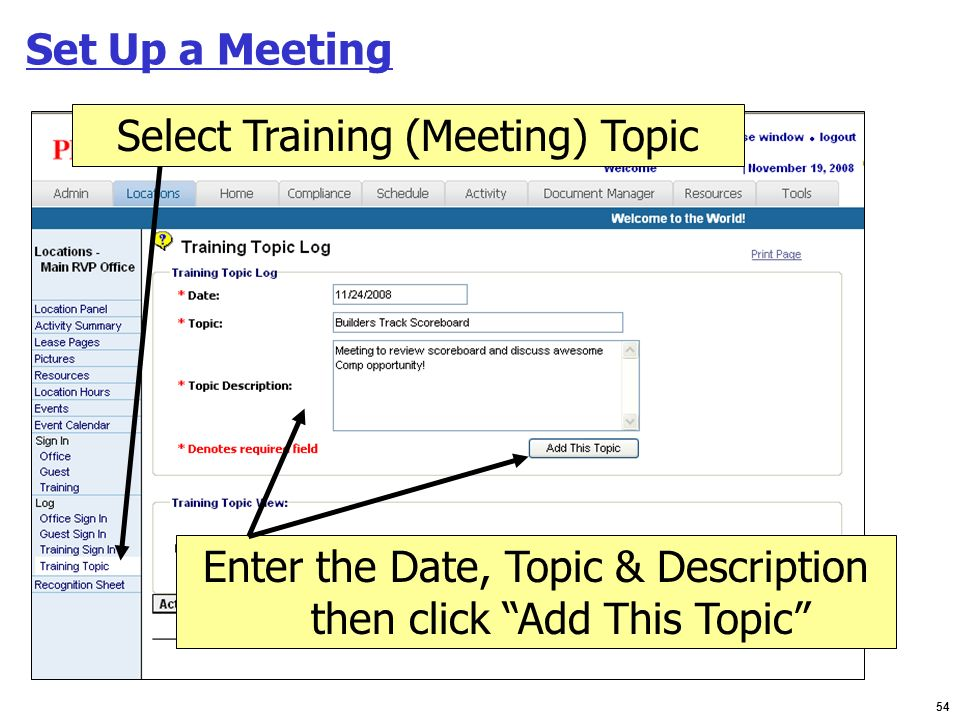 Select Training (Meeting) Topic