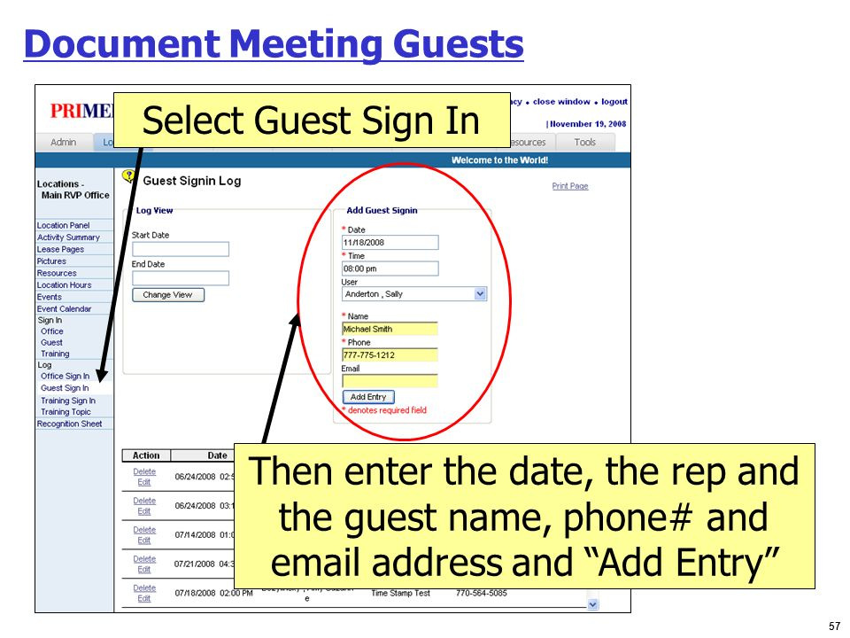 Document Meeting Guests