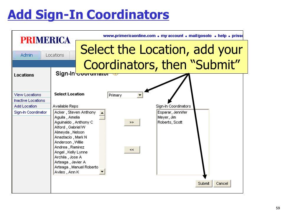 Add Sign-In Coordinators