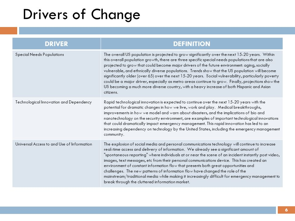 Drivers of Change DRIVER DEFINITION Special Needs Populations