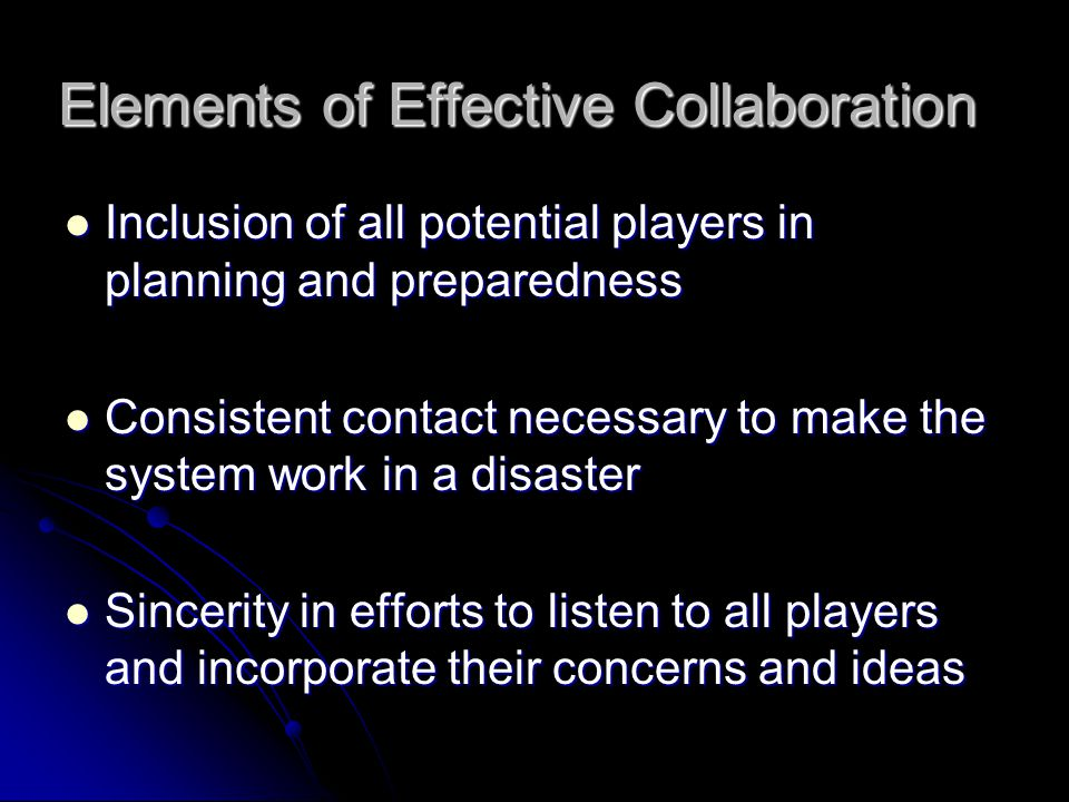 Elements of Effective Collaboration
