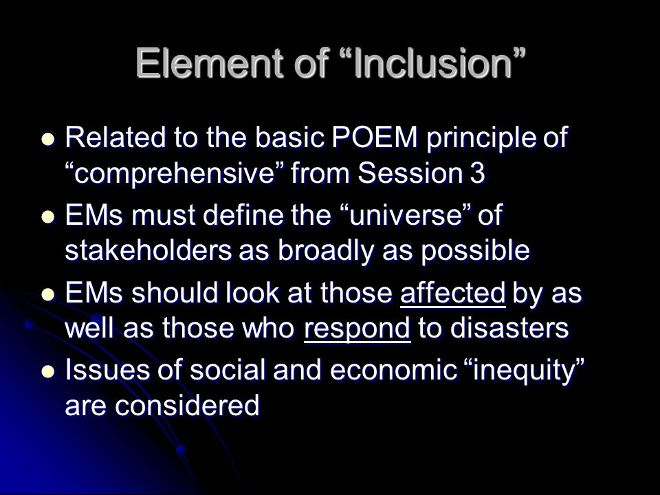 Element of Inclusion
